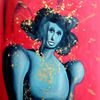 Malerei, Menschen, Frau, Blau