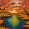 Ölmalerei, Landschaft, Herbst, Malerei