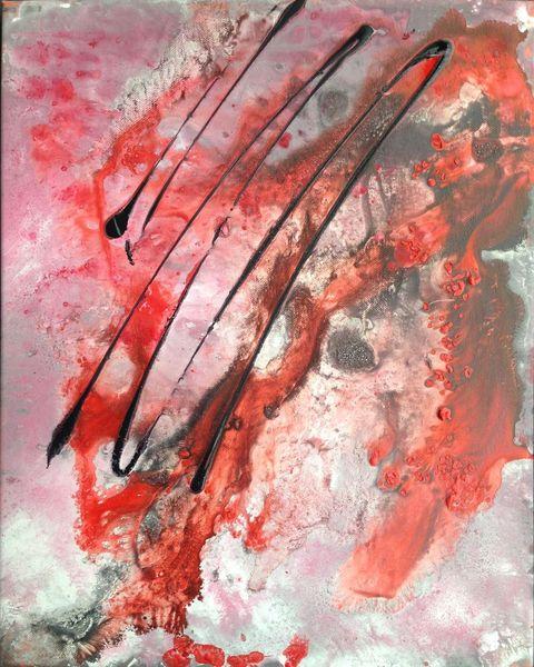 Wild, Acrylmalerei, Rot schwarz, Hell, Vermischen, Rosa