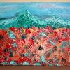 Ölmalerei, Blumen, Himmel, Berge