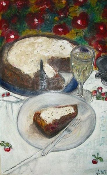 Teller, Glas, Blumen, Gabel, Kuchen, Tisch