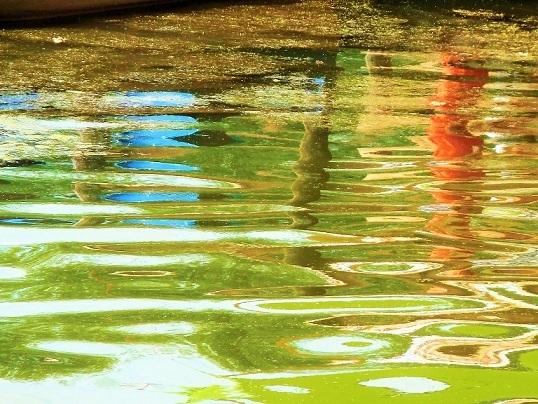 Spiegelung, Verzerrung, Farben, Wasser, Bootssteg, Fotografie
