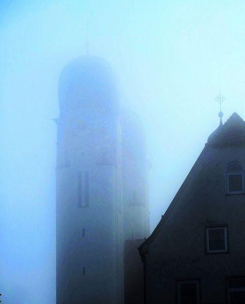 Farbe blau, Architektur, Nebel, Morgen, Fotografie, Landschaft