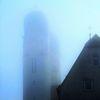 Morgen, Farbe blau, Architektur, Nebel