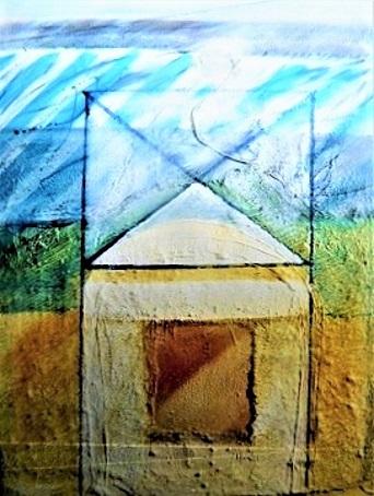 Acrylmalerei, Fragment, Nessel, Materialrelief, Kaffeesack, Putz