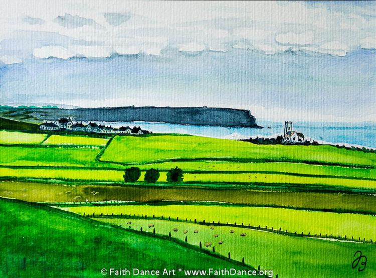 Feld, Meer, Kirche, Aquarellmalerei, Irland, Aquarell