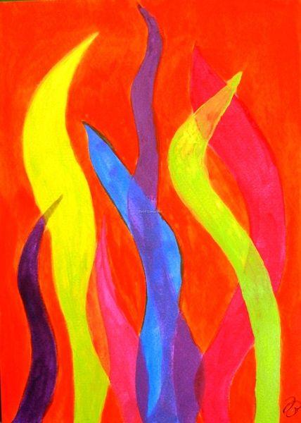 Grell, Kontrast, Grelle farben, Flammen, Malerei, Afrika
