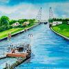 Brücke, Aquarellmalerei, Kanal, Landschaft