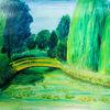 Temperamalerei, Garten, Weide, Landschaft