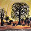 Afrika, Aquarellmalerei, Sahel, Baobab