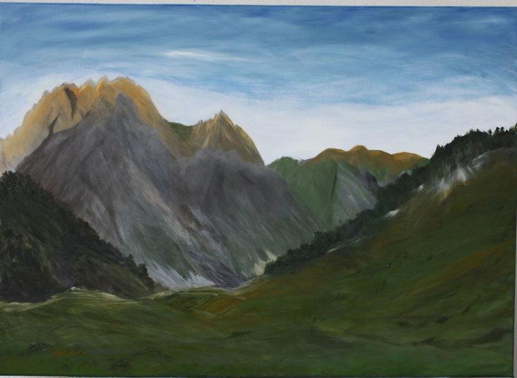 Berge sonne, Leuchten, Licht, Malerei