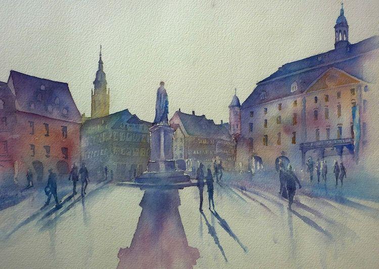 Coburg, Oberfranken, Aquarellmalerei, Marktplatz, Prinz albert, Bayer
