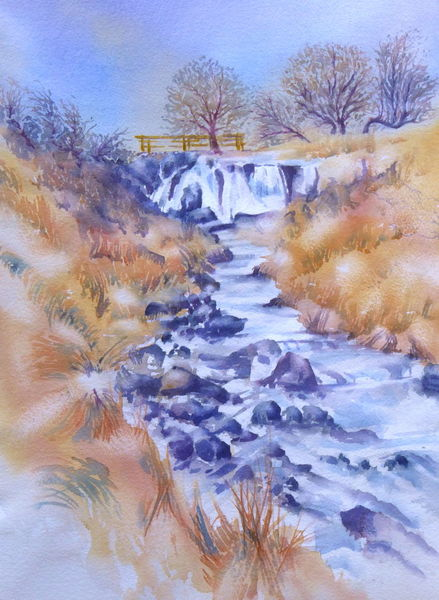 Winter, Wasserfall, Aquarellmalerei, Rhön, Eisgraben, Aquarell naturreservat