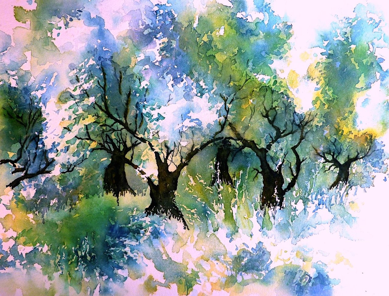 olivenhain auf kreta aquarellmalerei olive grove griechenland olivenbaum von thomas. Black Bedroom Furniture Sets. Home Design Ideas