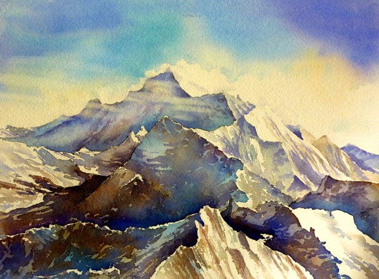 Mount everest, Himalaya, Berge, Felsen, Aquarellmalerei, Aquarell