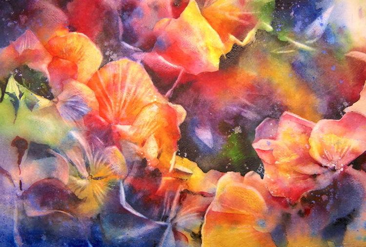 Aquarellmalerei, Blumen, Garten, Hortensien, Aquarell