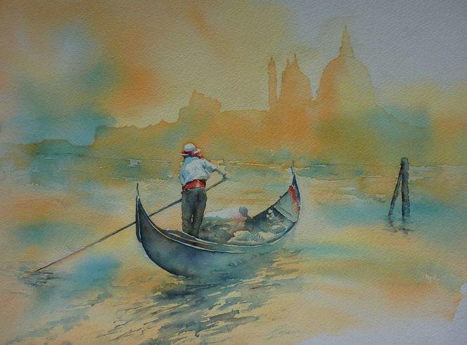 Venezia, Aquarellmalerei, Abend, Sonnenuntergang, Sonne, Boot