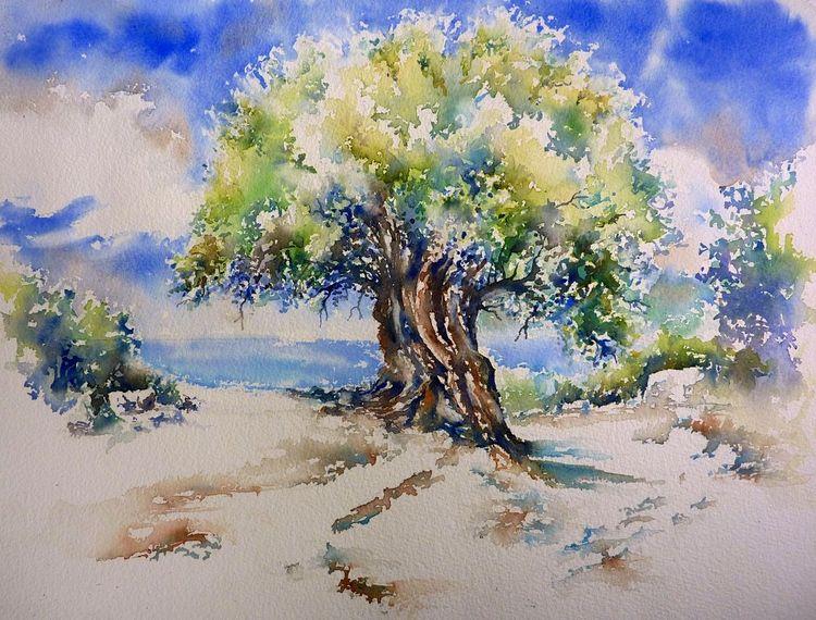 Olivenbaum, Aquarellmalerei, Griechenland, Kefalonia, Aquarell