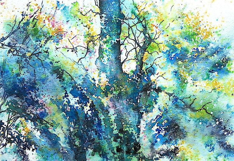 Baum, Blüte, Frühling, Aquarellmalerei, Birne, Aquarell