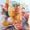 Erntezeit, Aquarellmalerei, Obst, Aprikose