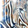 Streifen, Tiere, Tierportrait, Aquarellmalerei