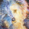 Aquarellmalerei, Hund, Wollknäuel, Hundeaugen