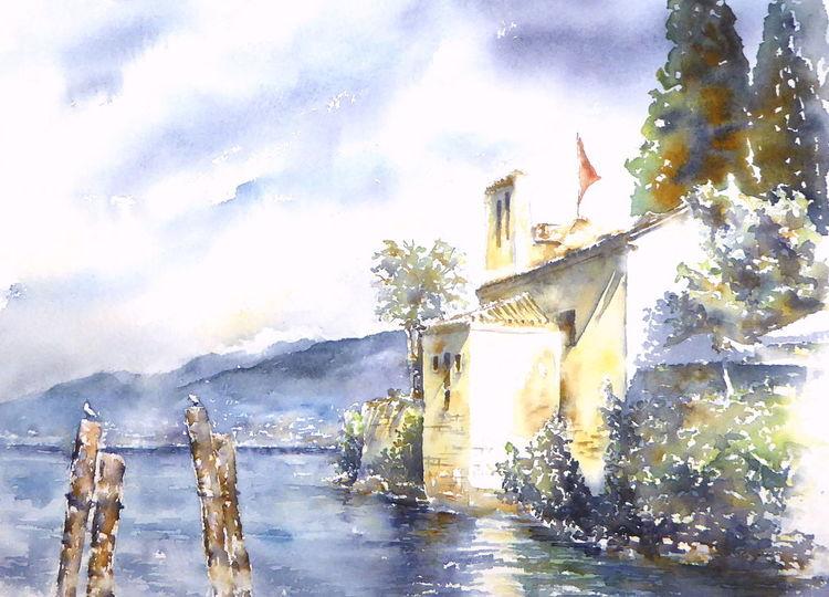 San vigilio, See, Italien, Aquarellmalerei, Aquarell