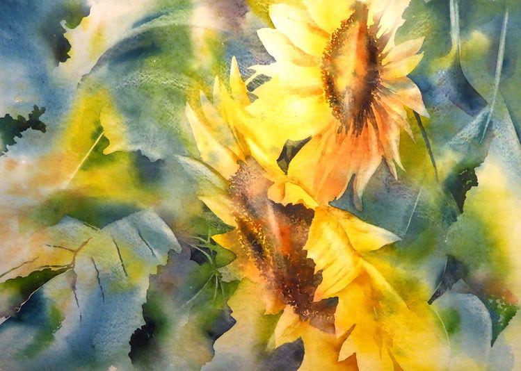 Blumen, Aquarellmalerei, Sonnenblumen, Gelb, Aquarell