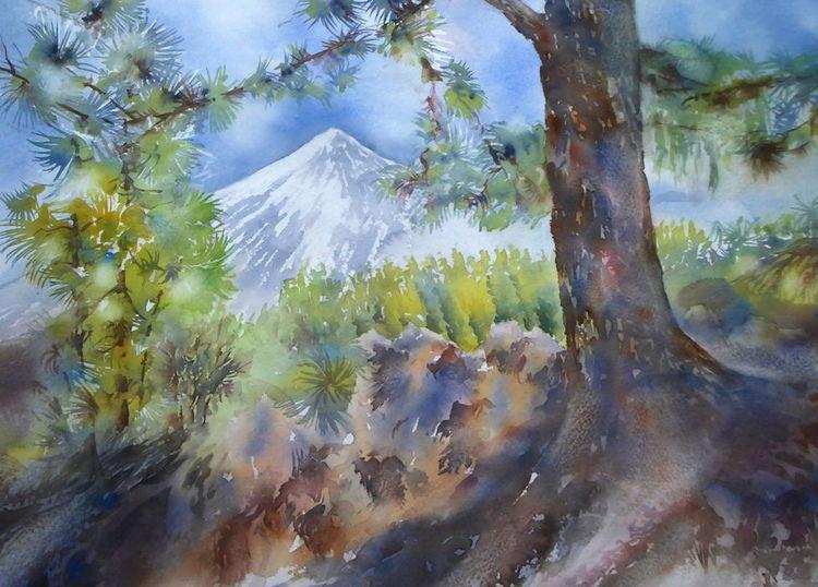 Watercolour aquarell, Kanarische inseln, Teneriffa, Teide, Landschaft, Aquarell