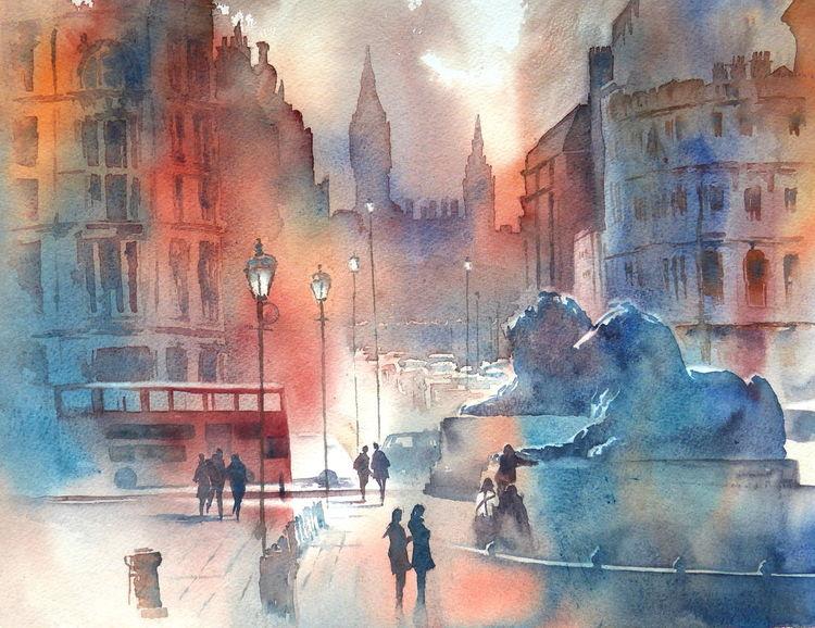 London, Trafalgar square, Großbritannien, Aquarellmalerei, Big ben, Aquarell