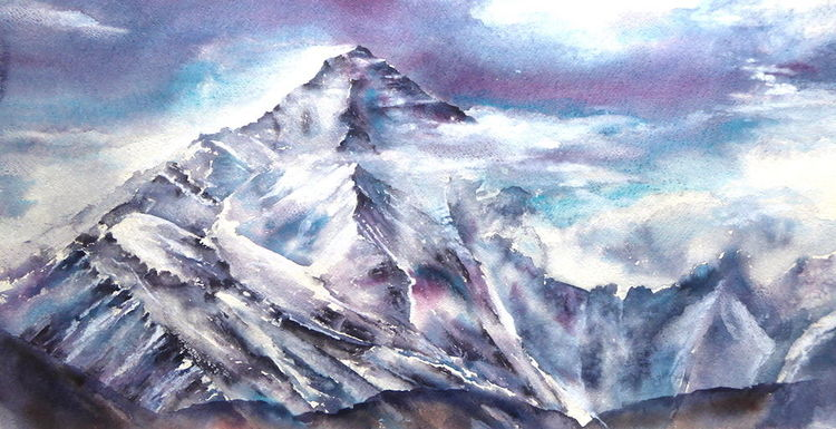 Everest, Berge, Unconquerable, Himalaya, Aquarellmalerei, Aquarell