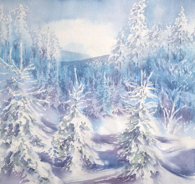 Winterwald, Aquarellmalerei, Schnee, Winter, Baum, Aquarell