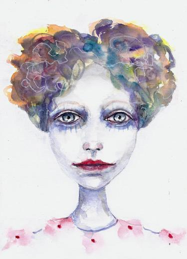 Bunt, Aquarellmalerei, Frau, Portrait, Aquarell, Surreal
