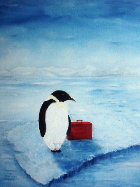 Eisscholle, Bus, Auswandern, Malerei, Eis, Abschied