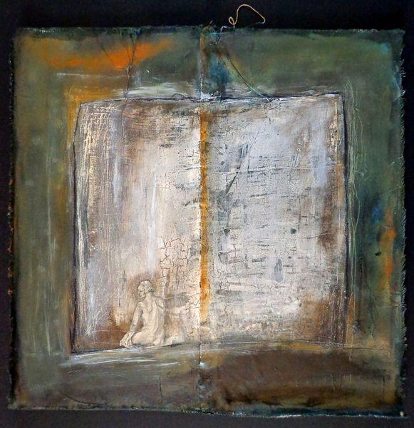 Rechteck, Collage, Holz, Einsamkeit, Kohlezeichnung, Acrylmalerei