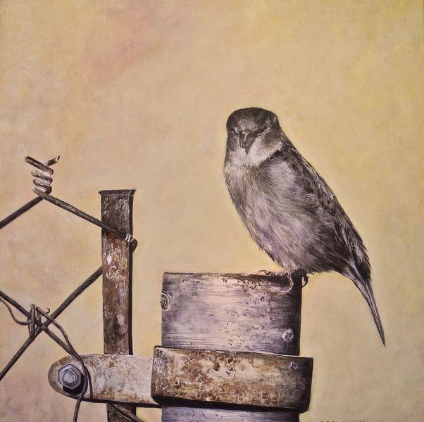 Temperamalerei, Spatz, Malerei