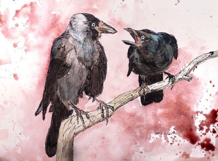 Vogel, Dohle, Tusche, Aquarellmalerei, Mischtechnik