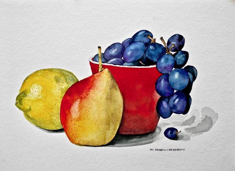 Birne, Obst, Trauben, Stillleben, Schüssel, Zitrone