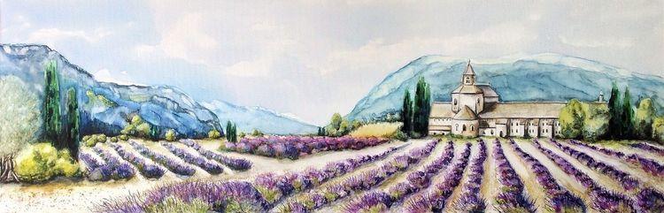 Lavendel, Provence, Frankreich, Kloster, Aquarell, Dame