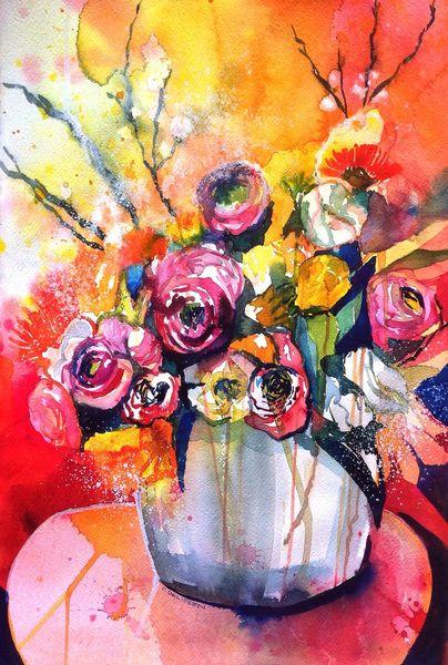 Frühling, Aquarellmalerei, Expressionismus, Ranunkeln, Mijello mission gold, Blumenstrauß