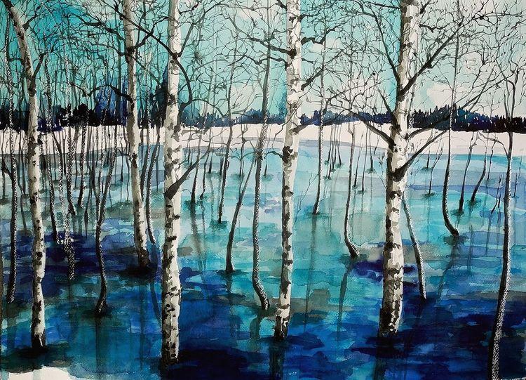 Winter, Wald, Schnee, Birken, Aquarell