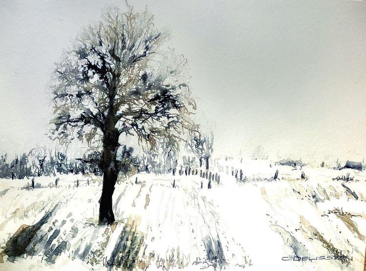 Landschaft, Schnee, Baum, Feld, Zeichnungen, Winterlandschaft