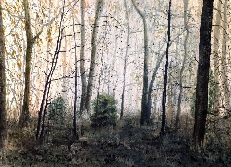 Winterwald, Wald, Winter, Aquarell