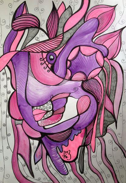 Wasserfarbe, Intuition, Edding, Pink, Grell, Tusche