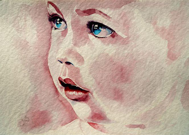 Kinderportrait, Kind, Aquarellmalerei, Portrait, Aquarell,