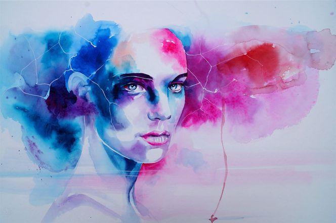 Magie, Aquarellmalerei, Gesicht, Portrait, Malerei,