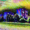 Straße, Gebäude, Digitale kunst
