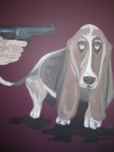 Revolver, Figural, Emotion, Hund, Malerei