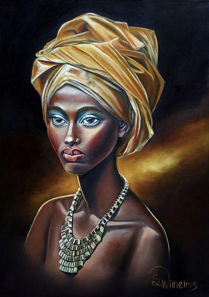Afrikanisches kopftuch, Afrikanischer kopfschmuck, Portrait, Frauenportrait, African beauty, Goldkette