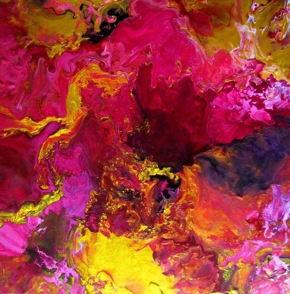 Barock, Farben, Pink, Acrylmalerei, Gold, Abstrakt